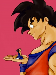 Pocket sized Vegeta in Goku's hand