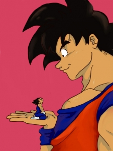 giant goku and tiny pocket sized vegeta